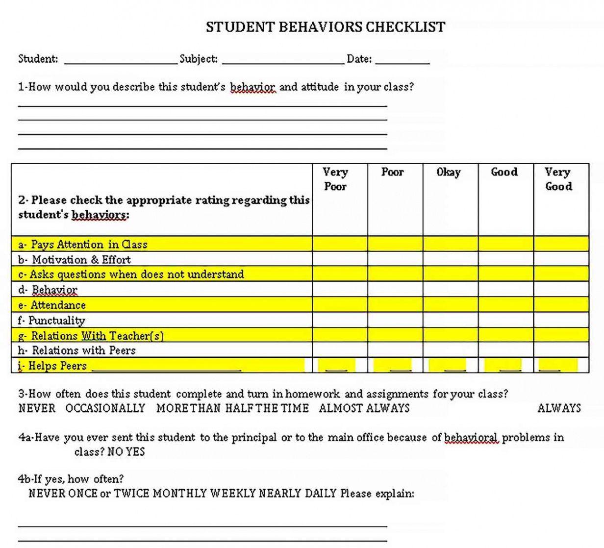 Get Our Sample Of Student Behavior Checklist Template For Free Student Behavior Checklist Template Student