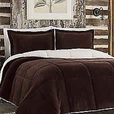 image of So Soft™ Plush Reversible Comforter Set in Chocolate
