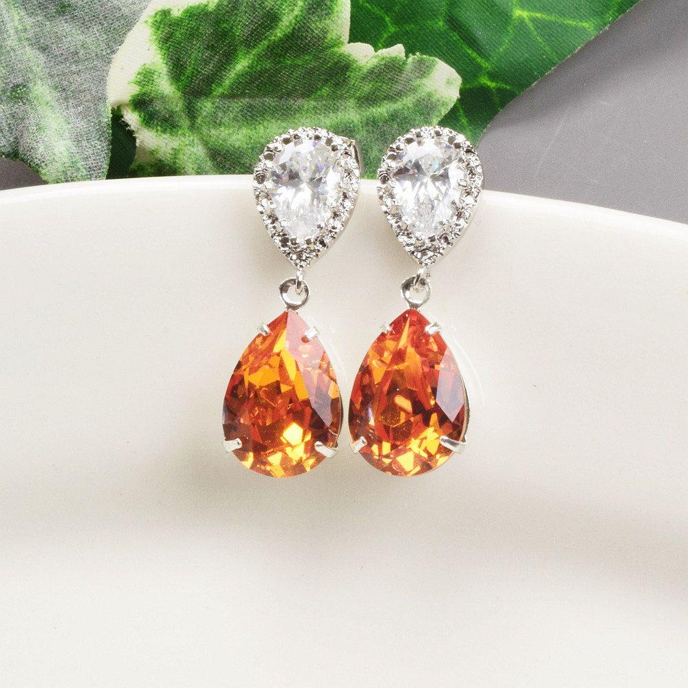Orange Earrings Tangerine Swarovski Crystal Teardrop Earrings Crystal Drop Earring Bridesmaid Earrings Bridesmaid Jewelry Sets Silver Crystal Drop Earrings