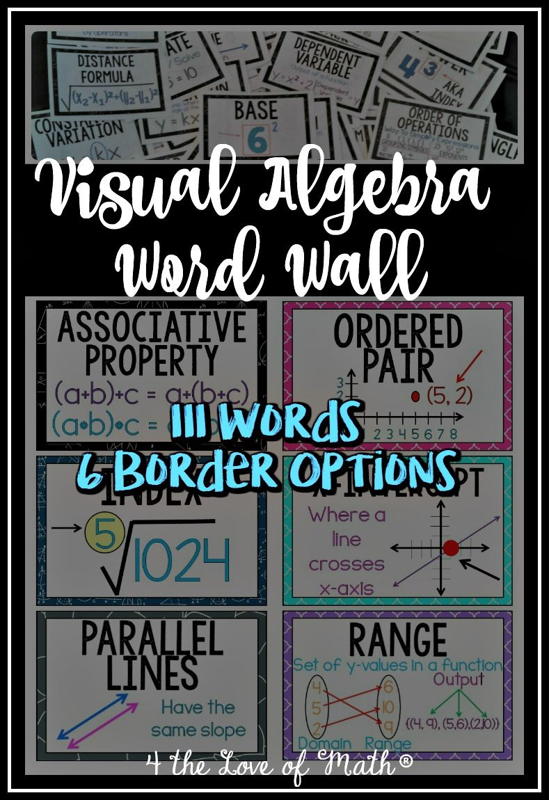 Algebra word wall 111 words pinterest algebra walls and math printable algebra word wall set 111 cards with words plus some type of visual to show or depict the meaning or the word fandeluxe Gallery