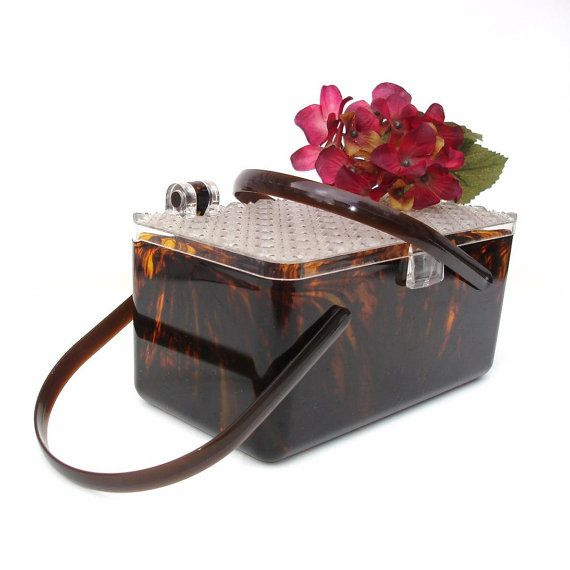 Vintage Lucite Handbag Rootbeer Faux Tortoise 50s by WhimzyThyme, $79.95