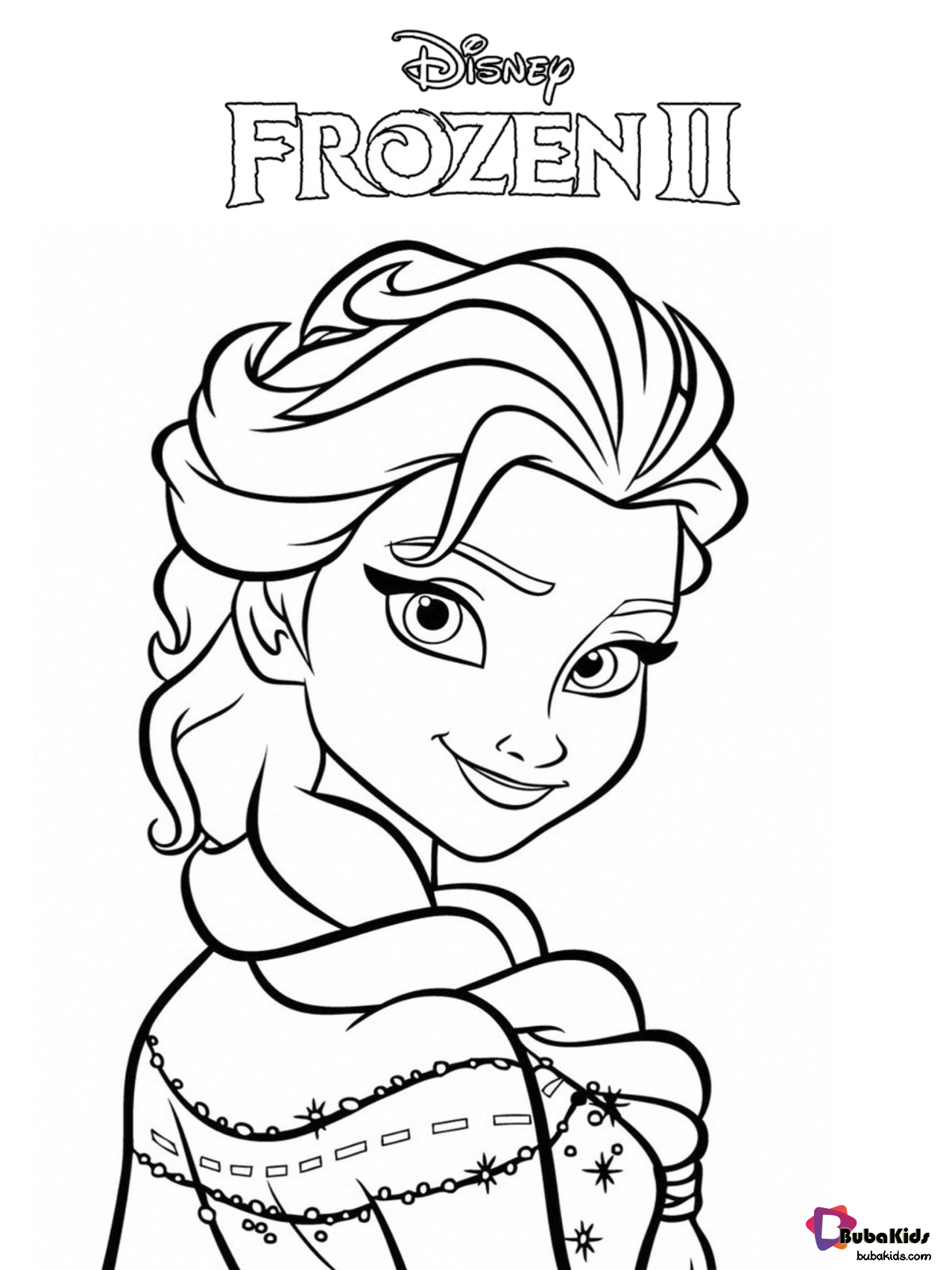 Free download and printable Frozen 2 coloring page. Elsa