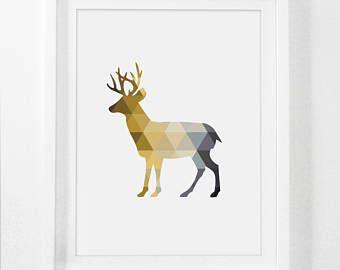 High Quality Deer Art Prints, Yellow Grey Wall Art, Printable Deer Art, Mustard Gray  Prints