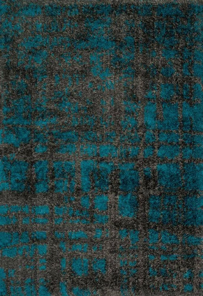 Loloi Barcelona Shag Bs 10 Charcoal Dark Teal Area Rug 113352