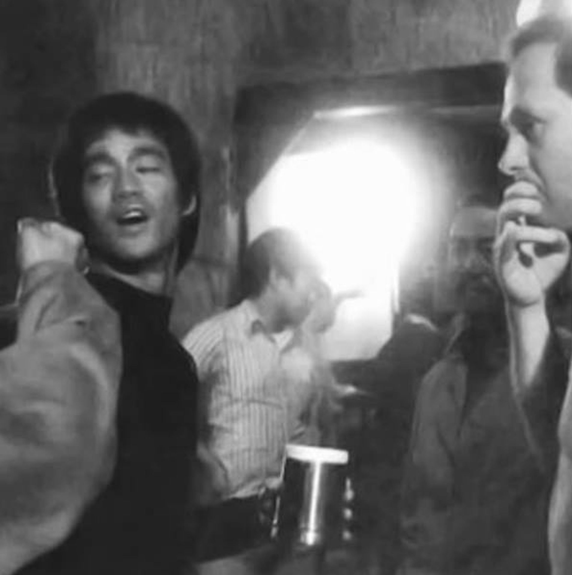 Bruce Lee with Robert Clouse on set from Enter the Dragon