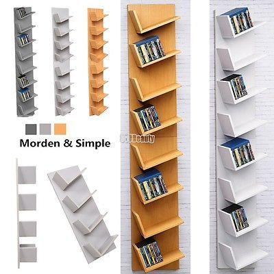 New Design CD Cabinet Tall DVD Book Rack Storage Unit Wood Shelf Display  Room UK