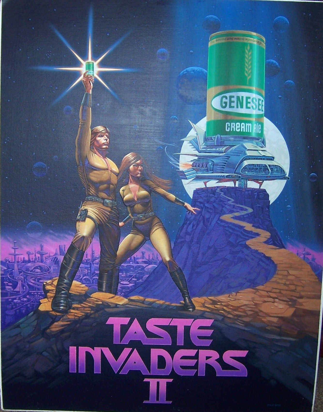 Genesee Cream Ale Taste Invaders Poster Circa 1979 Ale Beer Label Cream