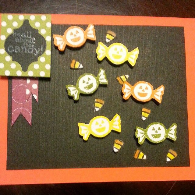 I made a Halloween Stampin' Up card! #StampinUp #HalloweenHello #ItsAllAboutTheCandy #CandyCorn #DIY