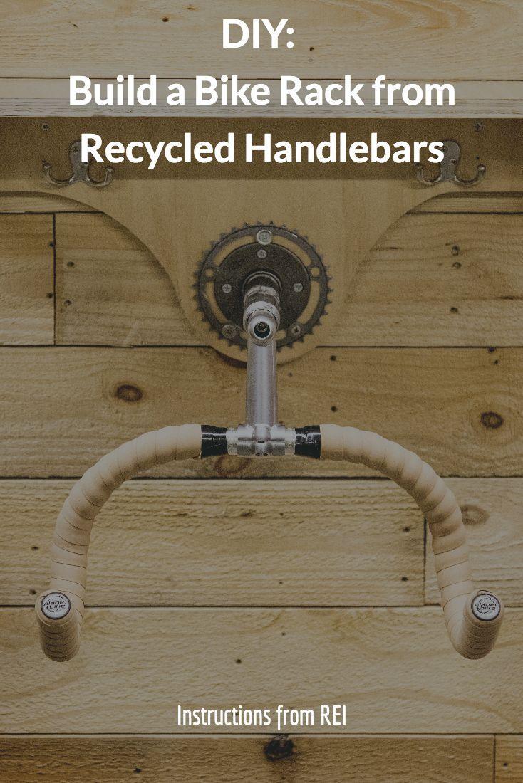 Diy reuse old handlebars to create a diy bike rack