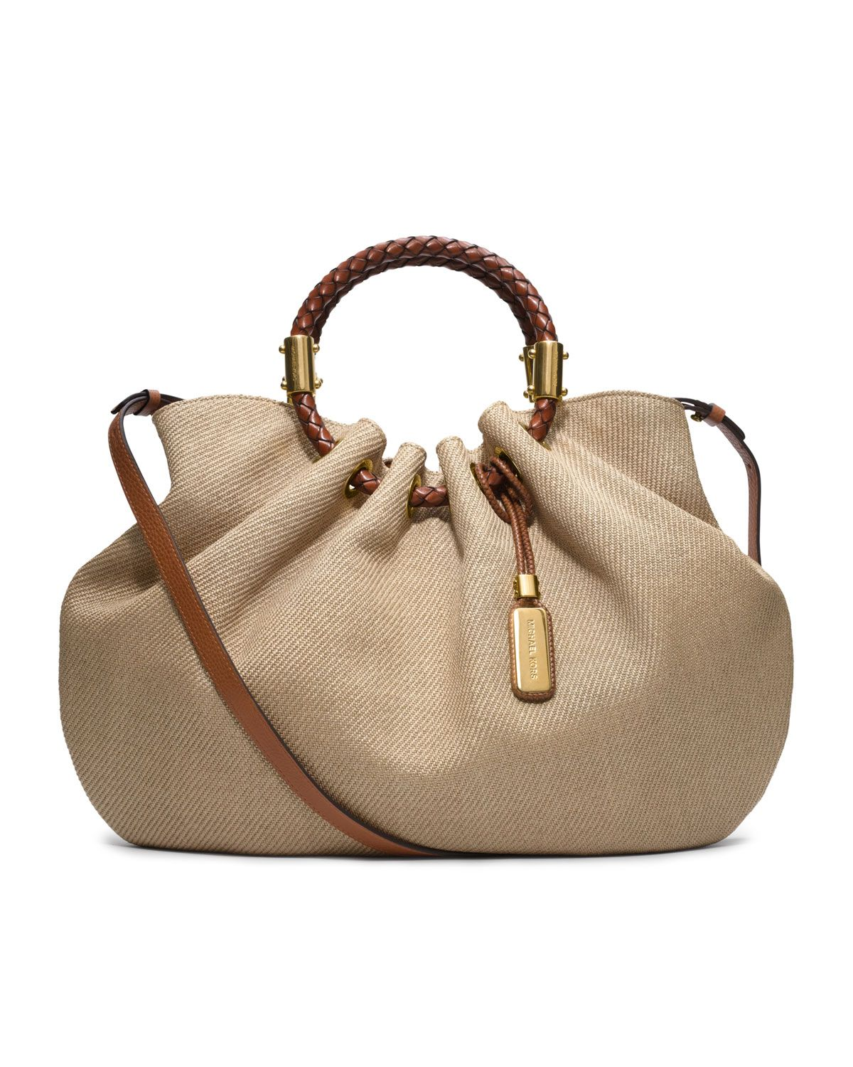 024428d7632aa9 Michael Kors Skorpios Canvas Ring Tote - Neiman Marcus Both lovely and  sophisticated, our Joan Vass pieces are ideal for your vacation!