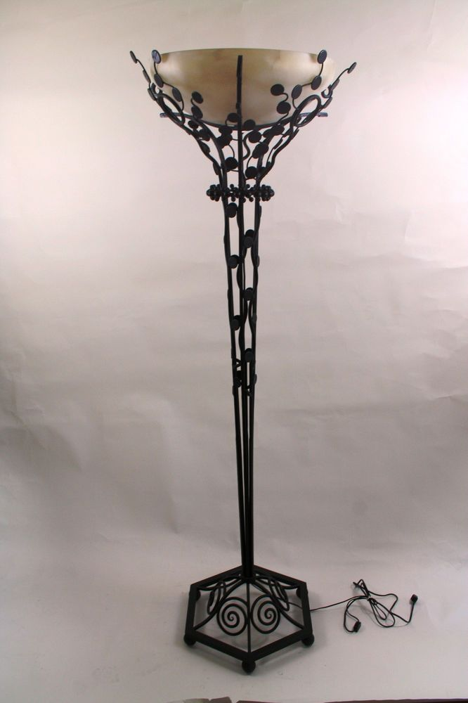 Edgar Brandt Art Deco Style Wrought Iron Torchiere Floor Lamp