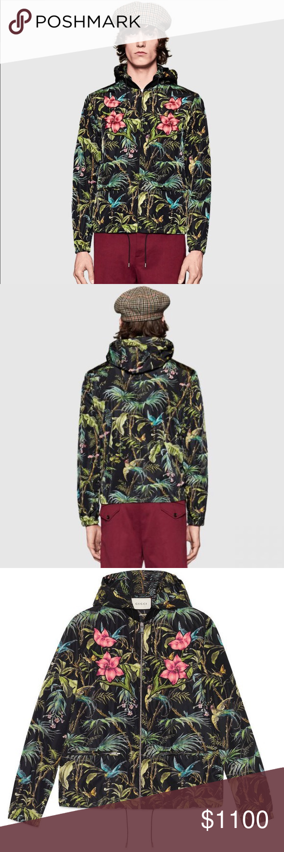 b95fc0bf6 New $1520 Gucci Black Tropical Nylon Jacket Small New with Tags Gucci  Tropical Must Have Celebrity