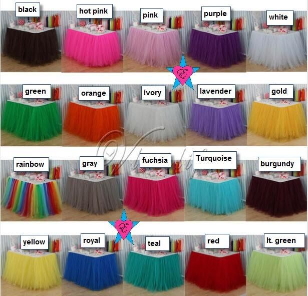 Custom Floral Tulle Table Skirt Baby Shower Table Skirt Candy Table
