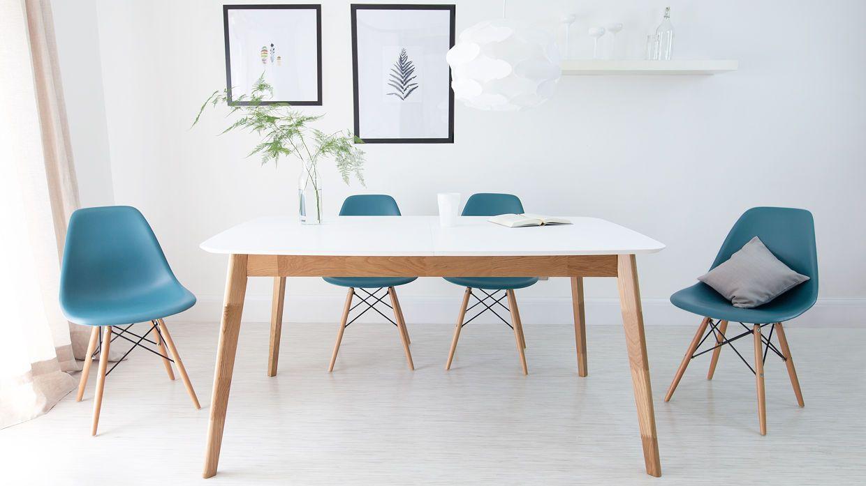 Aver Oak And White Extending Dining Table