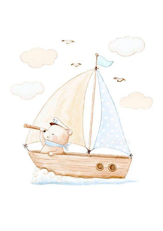 "Nursery Print ""BEAR ON BOAT"" Sea nursery wall art, Marine nursery art, Sea animals art, Sea nursery, Teddy prints, Ship nursery, Aida Zamora"