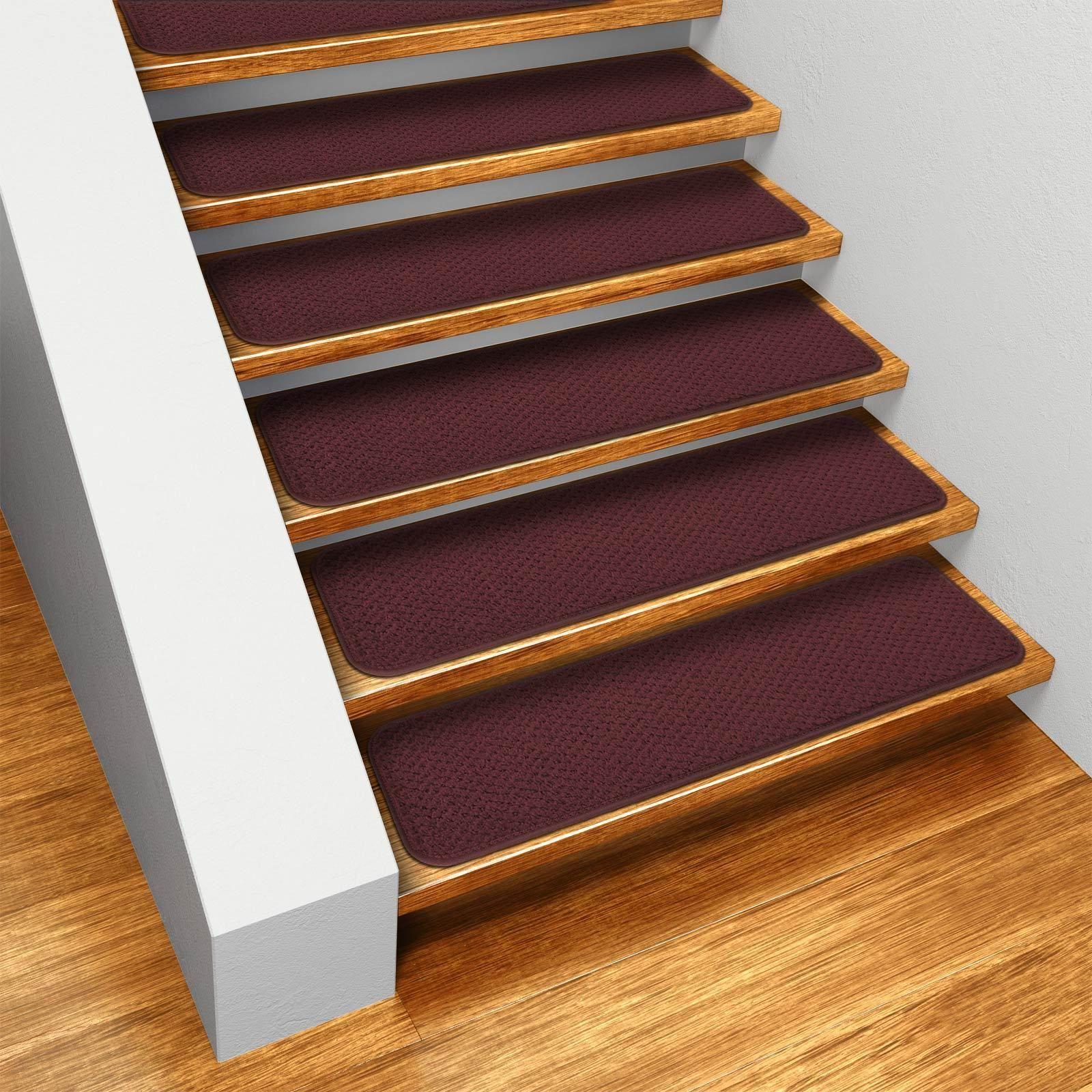 Best Set Of 12 Skid Resistant Carpet Stair Treads Burgundy Red 400 x 300
