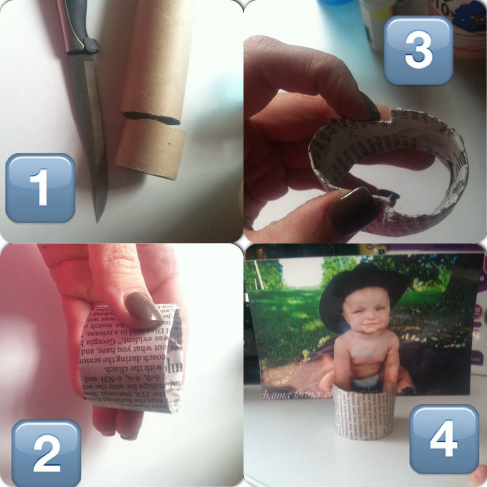 Something I just made!!! Using to display pictures for my sons first birthday!!! ... Paper towel roll DIY