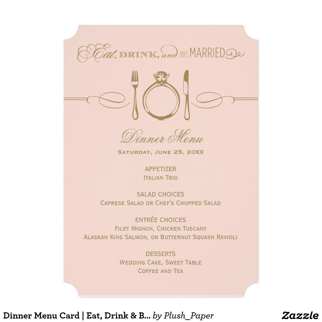 dinner menu card antique and blush be married in 2018 the
