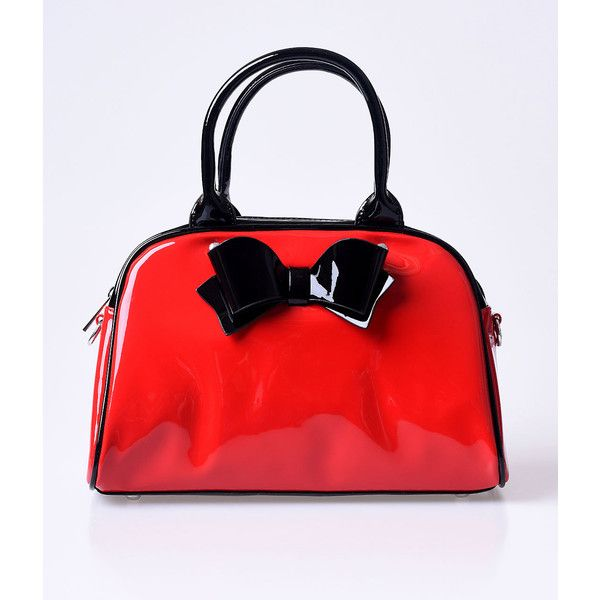 f3f199b02156 Hell Bunny Retro Red Patent Lola Bow Bowling Bag (£42) ❤ liked on Polyvore  featuring bags