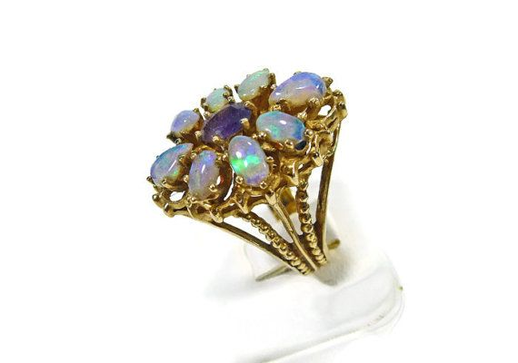 Vintage Style Jewelry Fire Opal Ring Upcycled Jewelry