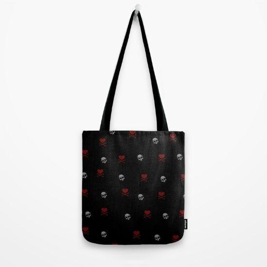 Crossbones hearts and skulls Tote Bag