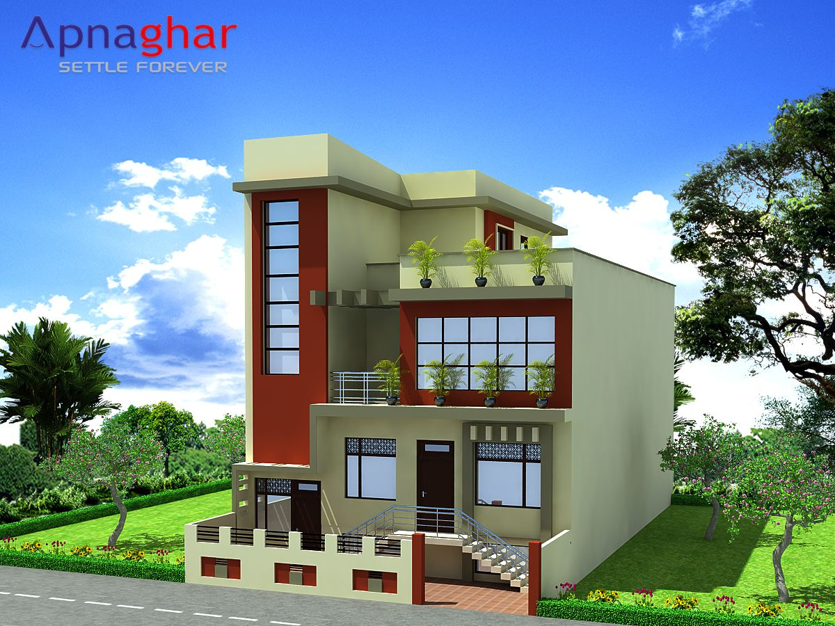D elevation triplex house design giving proper perspective of house