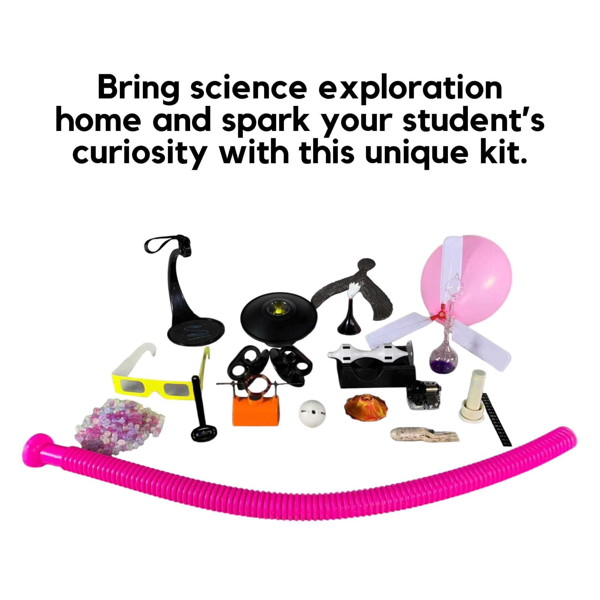 """Concerned about your child's remote learning """"slide"""" due to a lack of access to resources? Bring #science exploration home and spark your student's curiosity with the #Physics AT HOME Experience Kit! #athomelearning"""