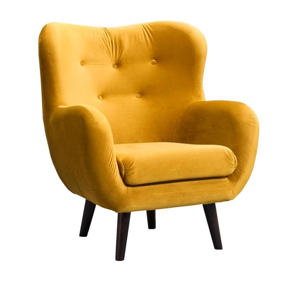 Comfortabele Luxe Fauteuil.Fauteuil Viborg Stof Geel Okergeel In Huis Leen Bakker