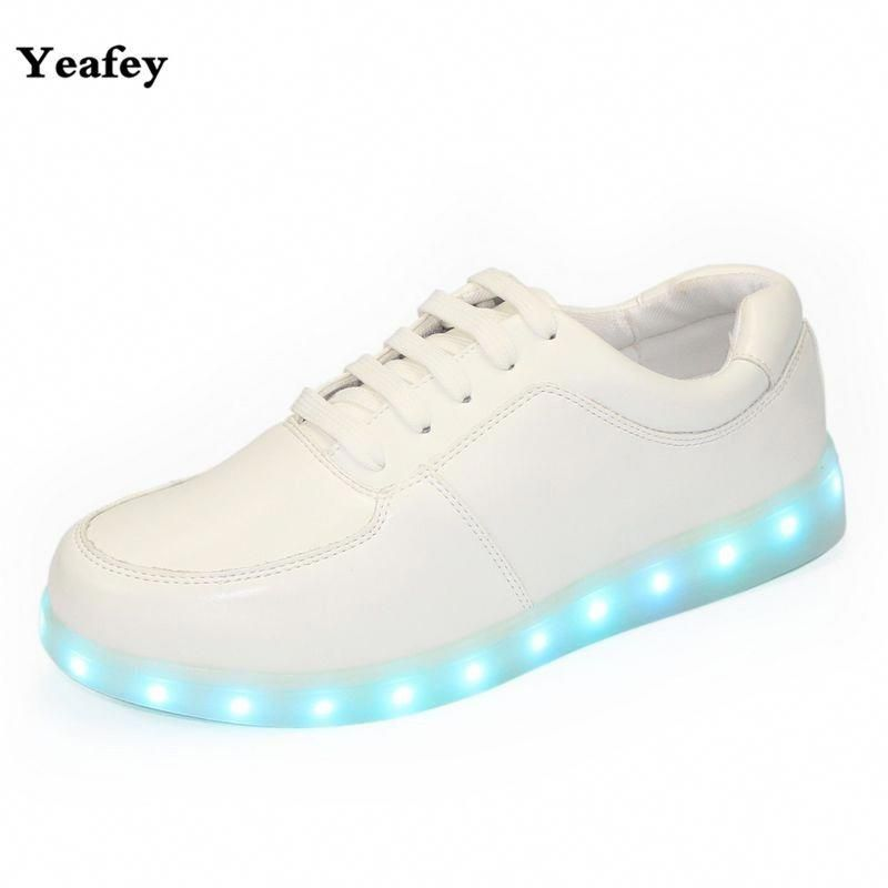 Yeafey White Kids Light Up Shoes Tenis Led Sneakers Infantil Illuminated  Glowing Sneakers Usb Girls Boys Neon Shoes Led Children   Womenssize6ShoesInYouth 2c91cfa129