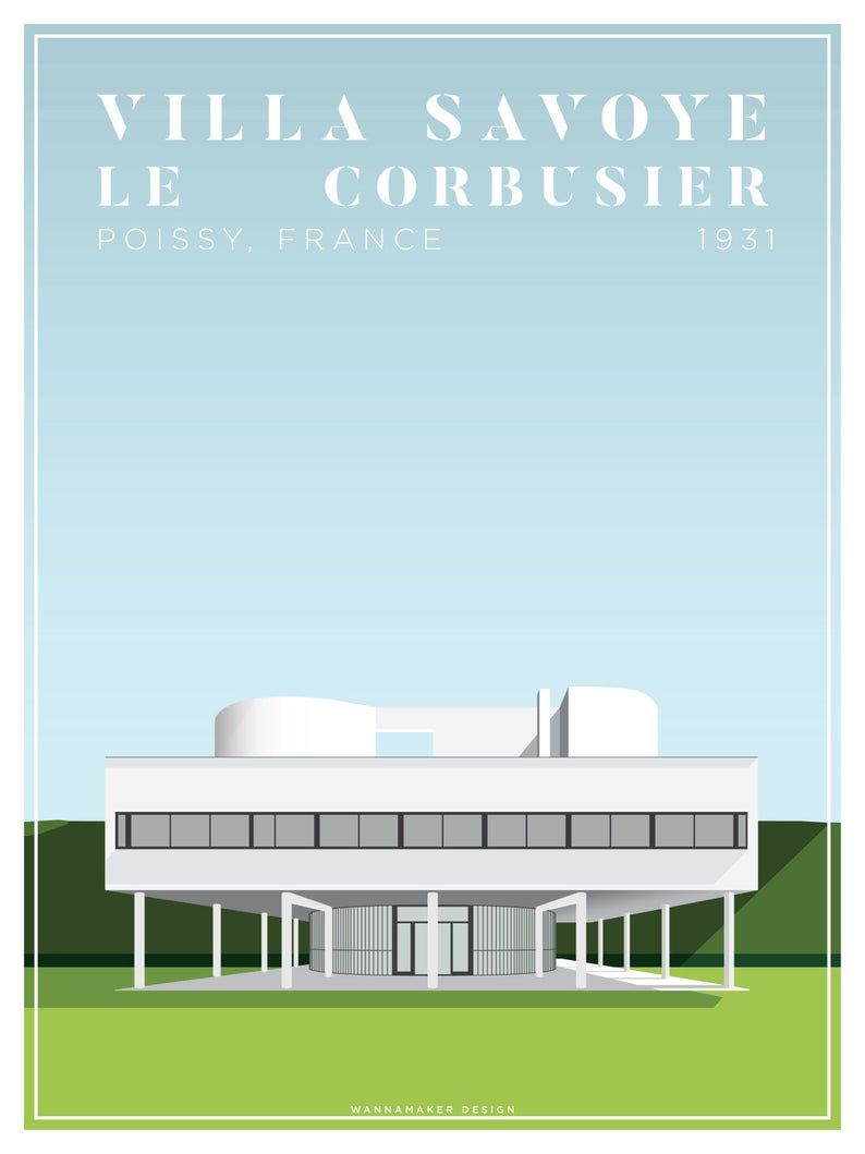 Villa Savoye Le Corbusier Architectural Illustration Giclee | Etsy
