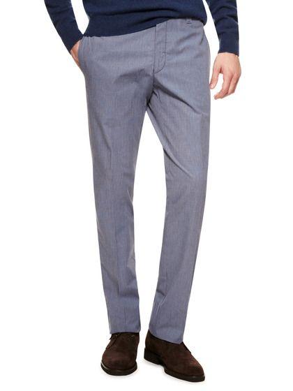 Cotton Micro Check Trousers