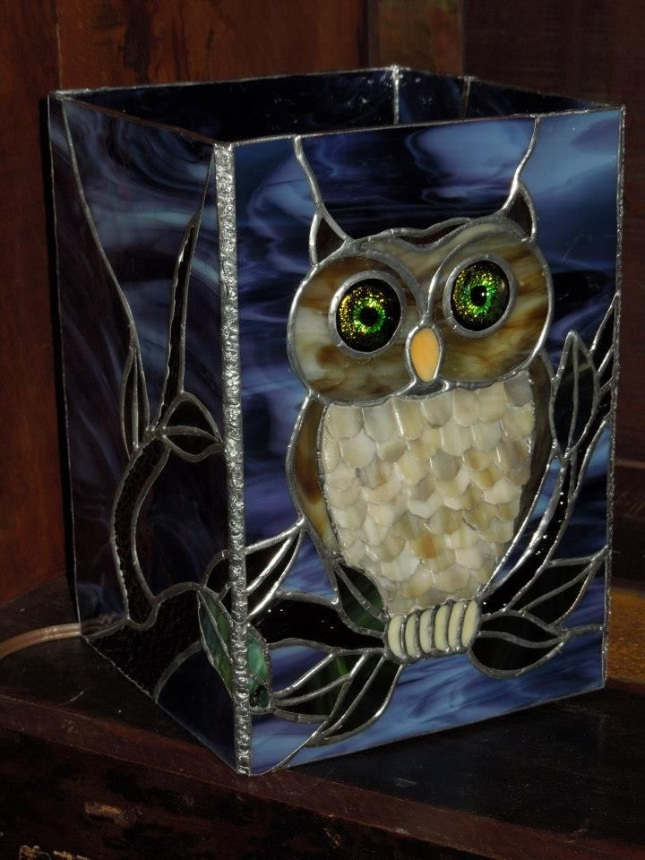 Stained And Fused Glass Owl Lamp By Melinda Sandefur Mit Bildern Tiffany Glas Tiffany Eule