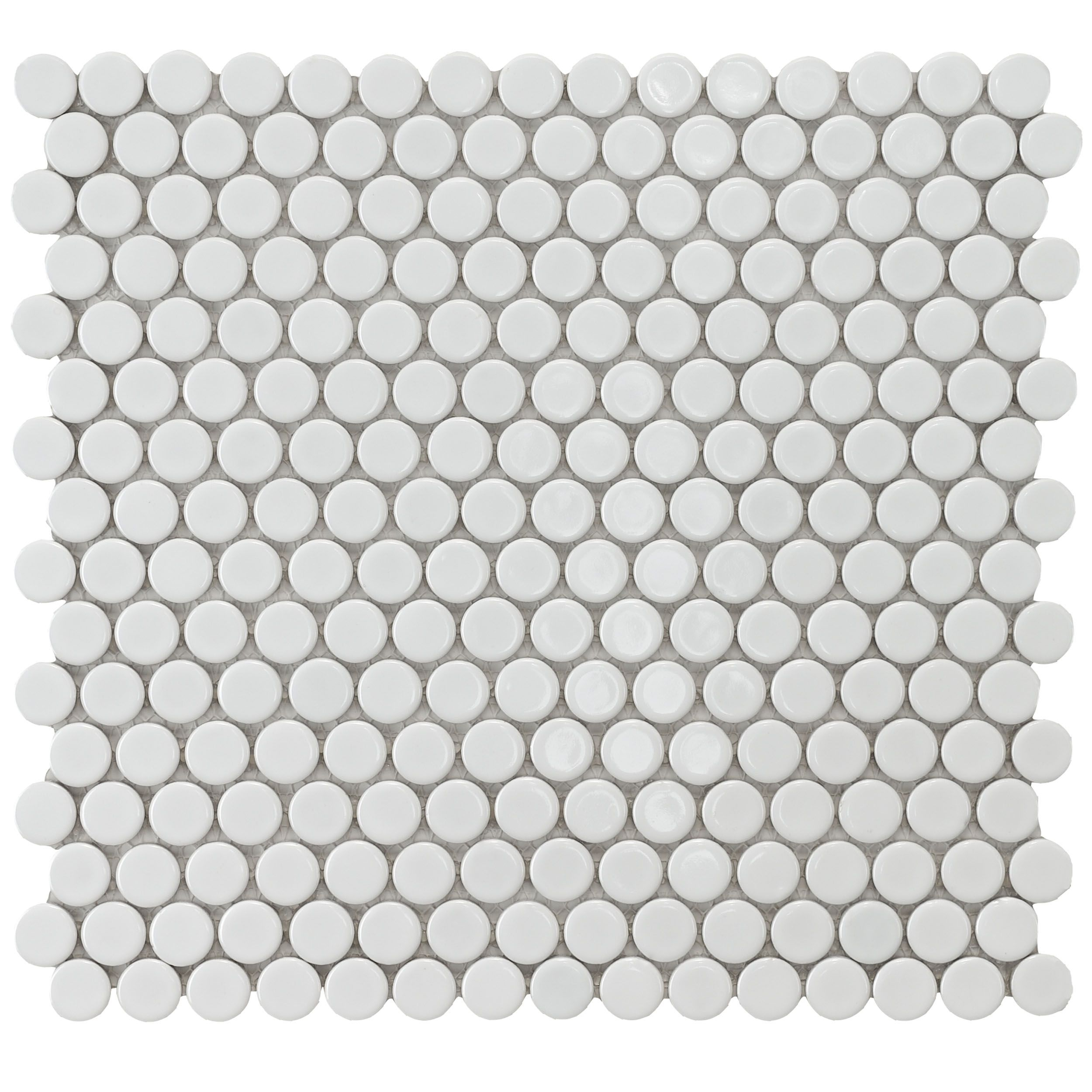 Merola Tile Penny Round White Porcelain Mesh Mounted Mosaic Traditional Floor Tiles Home Depot