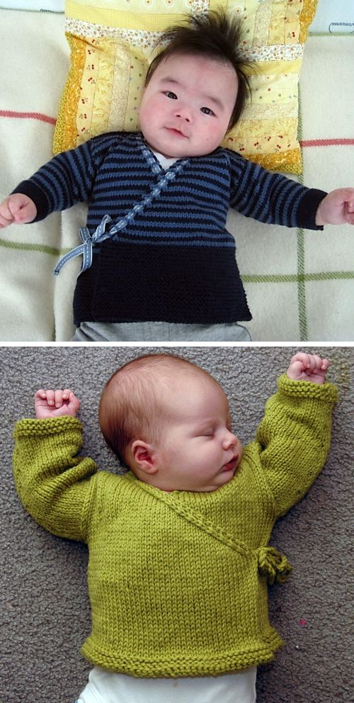Free Knitting Pattern for Baby Sachiko Kimono Sweater - This easy fit wrap baby cardigan is designed to minimize finishing with an the eyelet-garter band worked on the fronts, a three-needle bind-off at the shoulder seams and back neck, and the sleeves picked up and worked from the top down. Sizes 6 mos (12 mos, 18 mos). Designed by Erika Flory. Aran weight yarn. Pictured project by patterntastic who added a 9cm garter stitch hem and threaded ribbon through they eyelet for the ties, and Kessed. #babyknittingpatterns