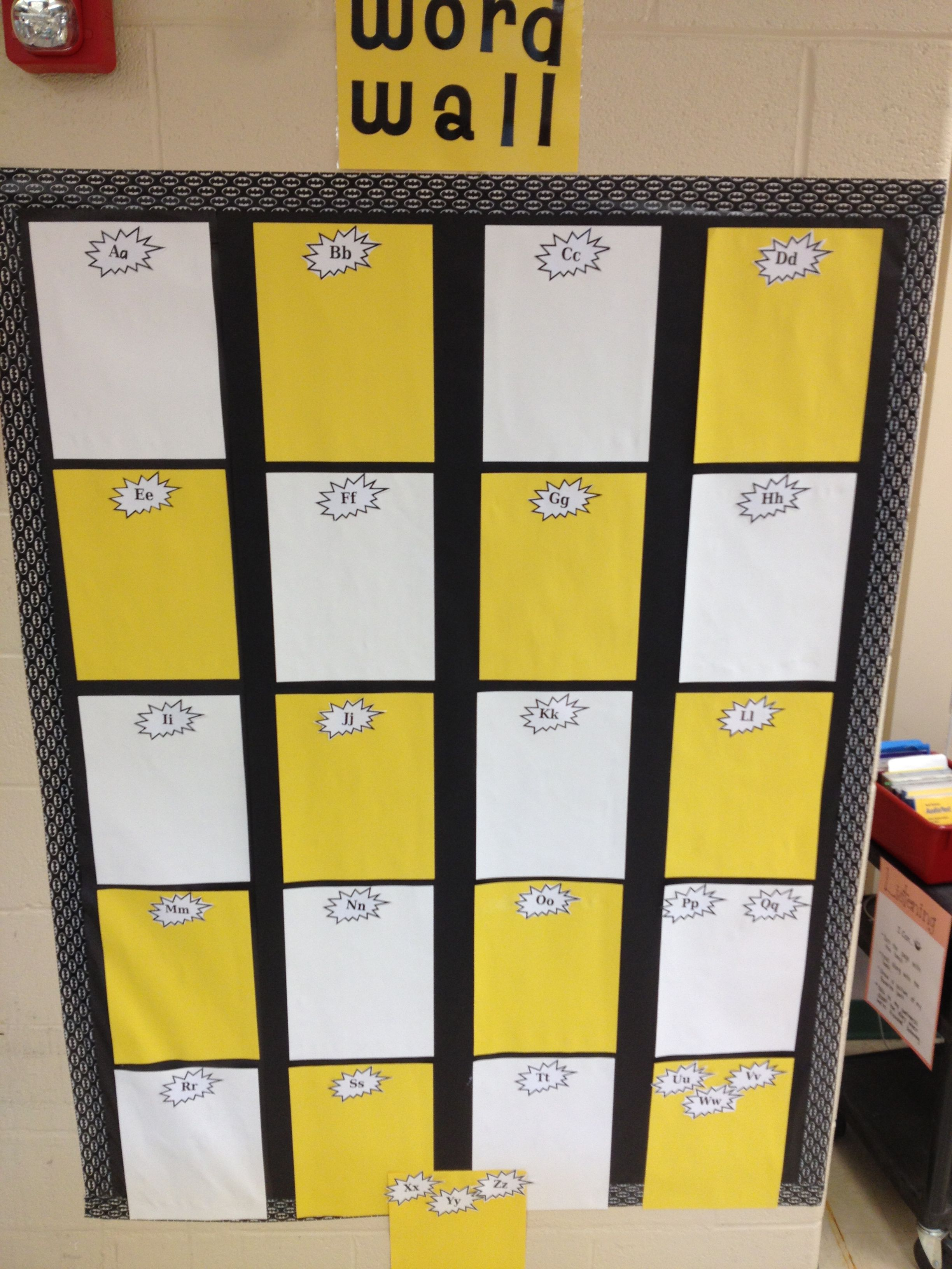 Word wall for superhero classroom with batman duct tape for border ...