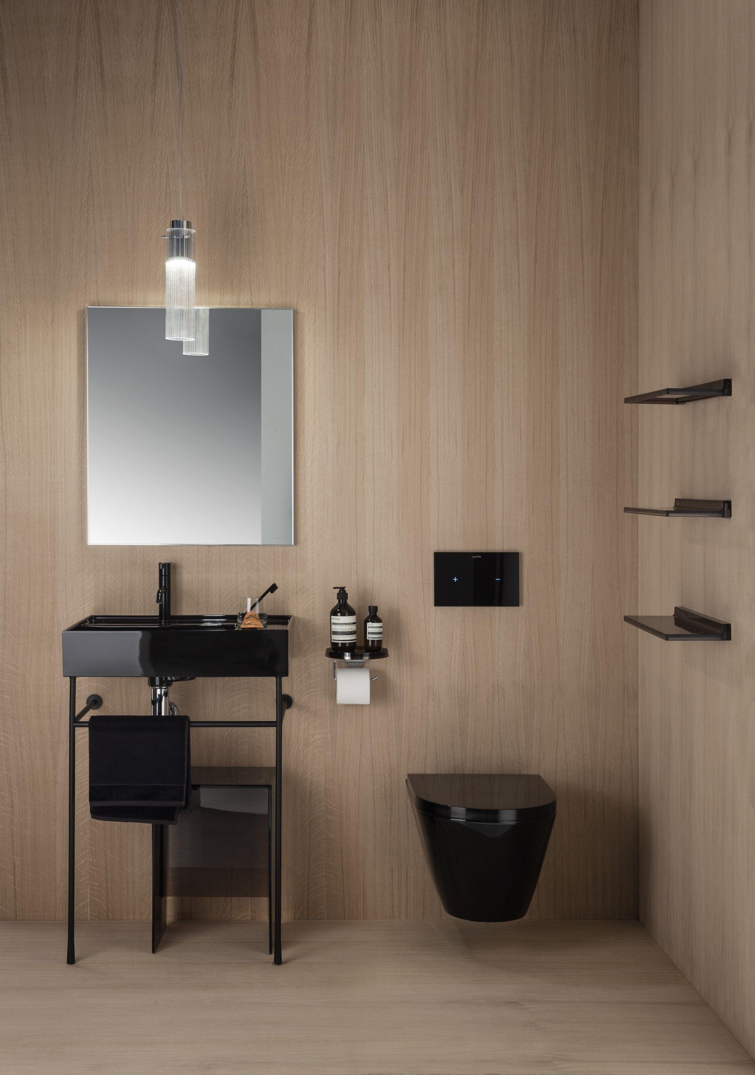 kartell salle de bain Kartell by Laufen lavabo noir sur piétement. WC noir. Au show-room David B  à Paris