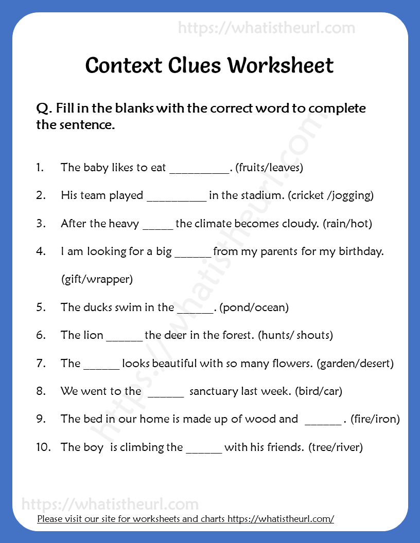 small resolution of Context Clues Worksheet for Grade 6   Context clues worksheets