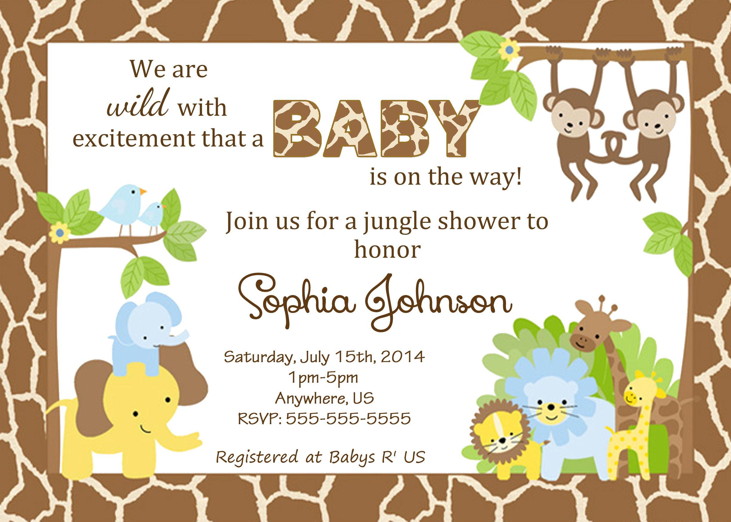 Jungle Baby Shower Custom Invitations $8 99