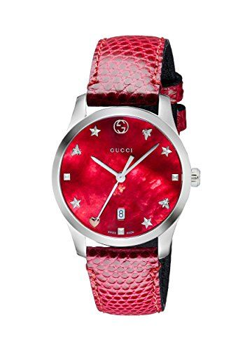 16ff6cecf17 Stainless steel case Red mother of pearl dial Heart