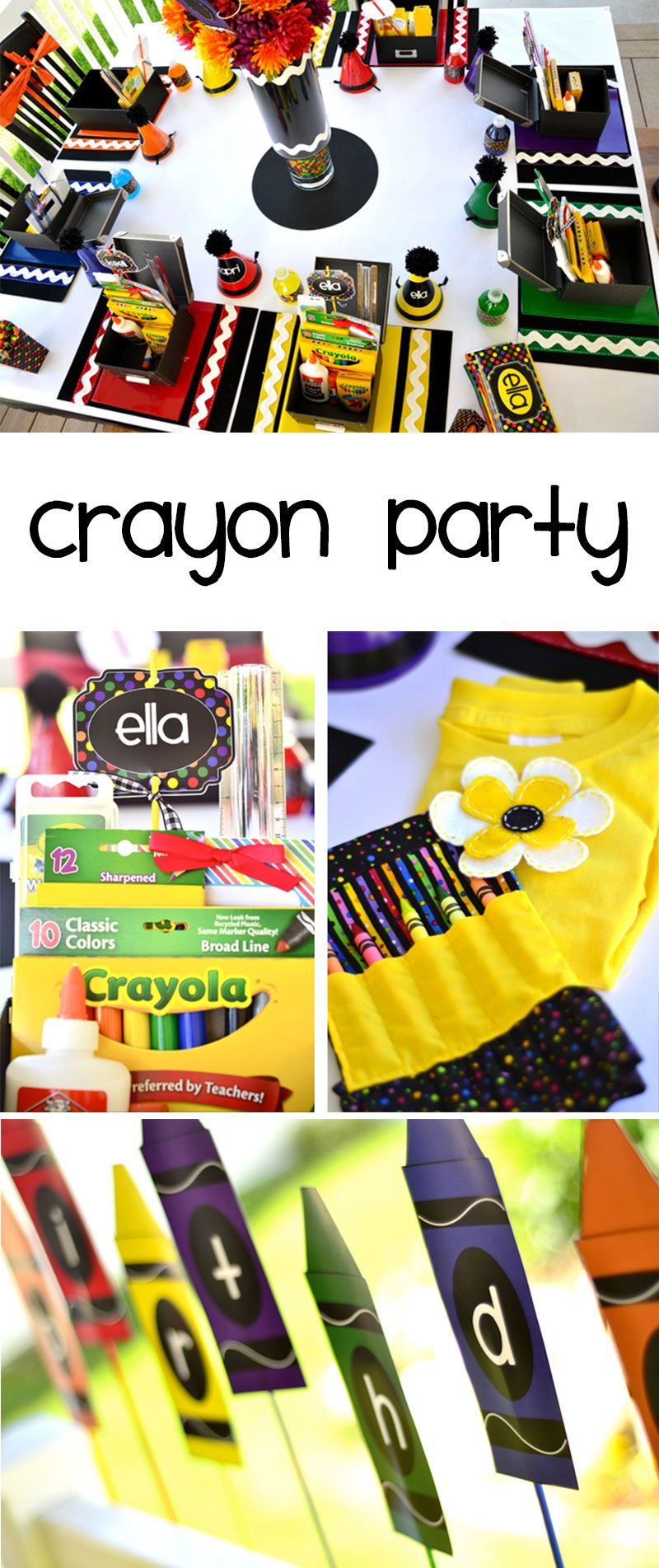 Crayon Birthday Party by Lindi Haws of Love The Day | Back To School ...