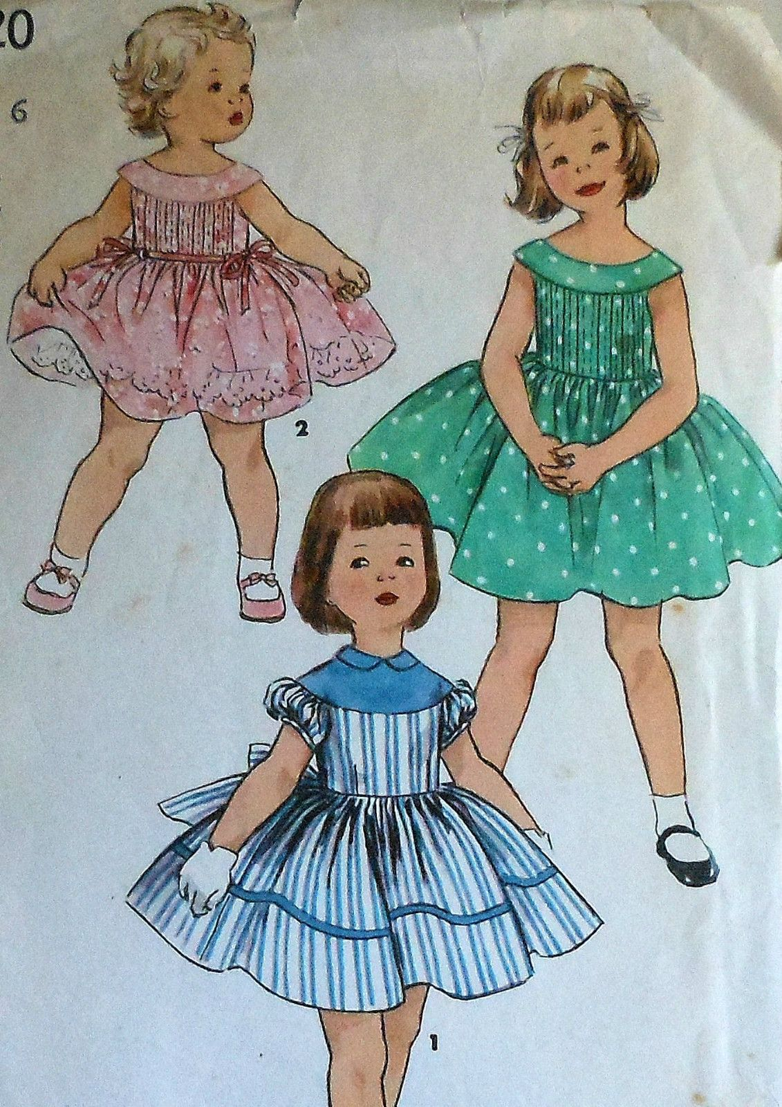 Vintage 50\'s Little Girl\'s Summer Party Dress Sewing Pattern ...