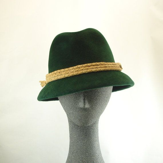 Felt hat for Women: Fedora in luscious forest green fur felt with a band of camel-colored suede braid.