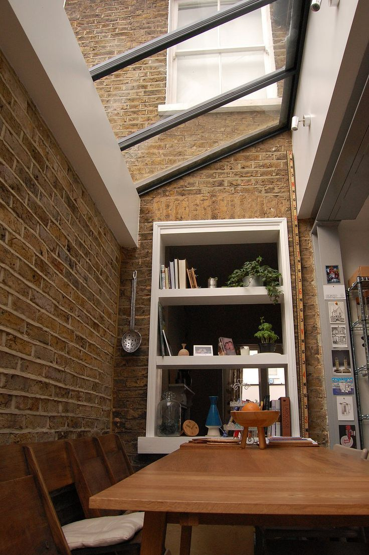 Use of exposed brick to match original exterior with glass roof  Green Tea Architects  Side Return Extension Brockley  Use of exposed brick to match original exterior wit...