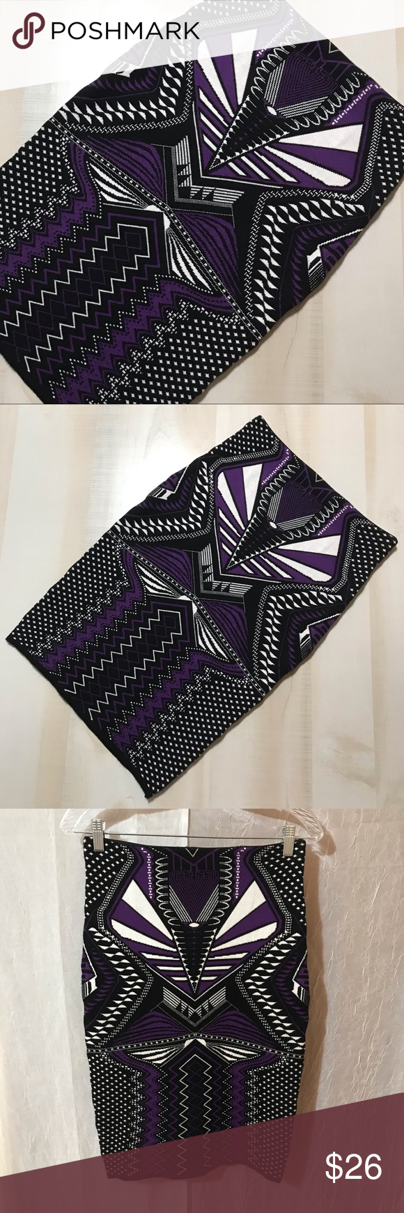 Purple Tribal Pencil Skirt