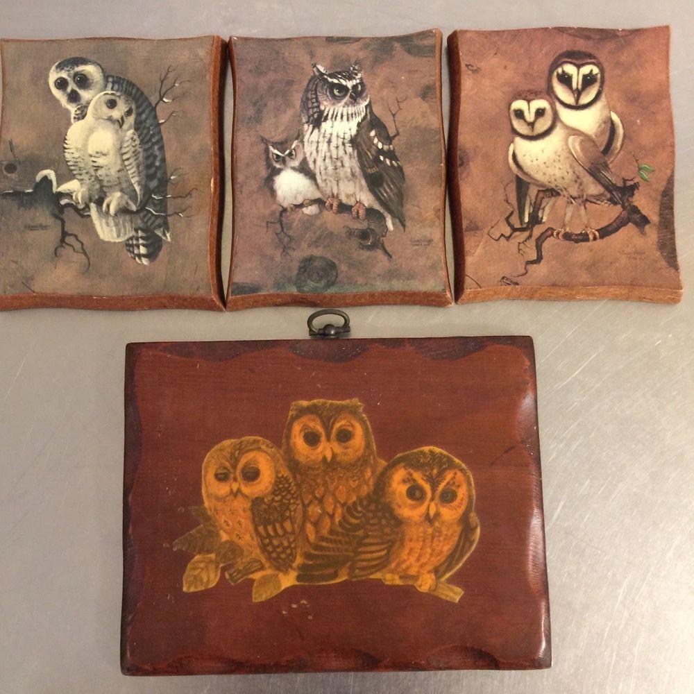 Vintage owl wood plaques set mid century mod decor kitsch wall art