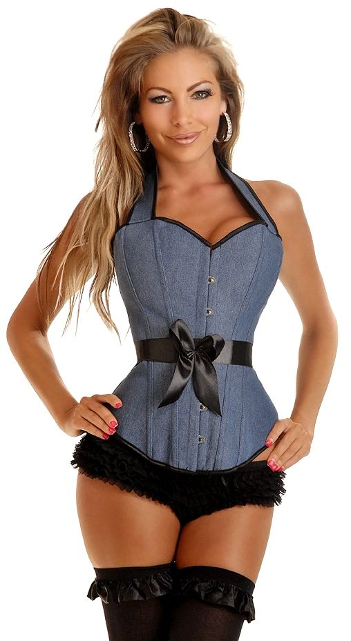 5cc4fe757b1 Sexy Plus size Denim corsets