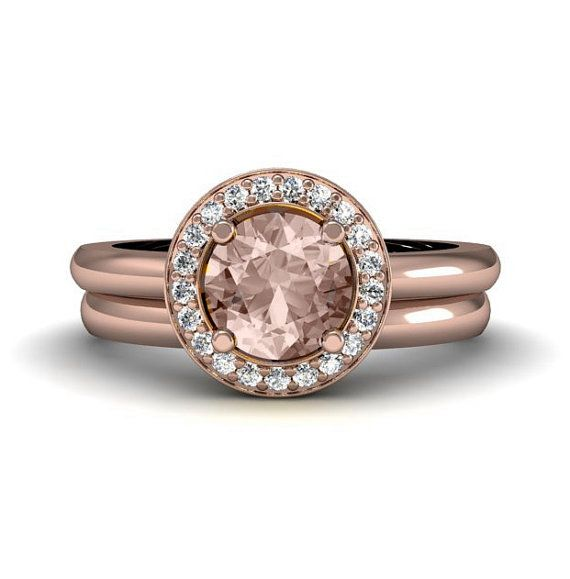 zales morganite engagement rings set | Halo Morganite Engagement Ring and Wedding Band 14K Morganite Ring ...