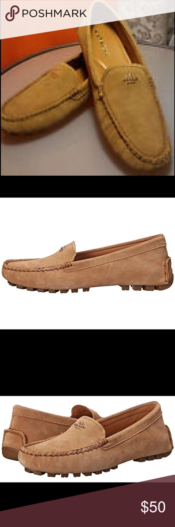 Coach sued flats Plushly padded inside and finished with hand-sewn beef-roll details, this rubber-soled flat updates the iconic driving moc with the subtle texture of suede leather and the bright shine of turnlock hardware. Suede leather upper. Rubber sole. Coach Shoes Moccasins
