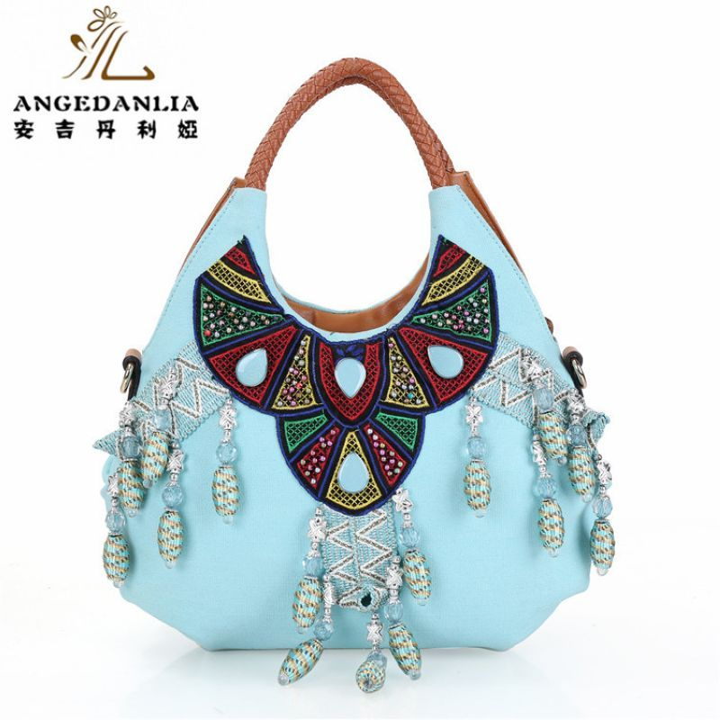 canvas tote bags bulk blue color vintage with beads Bohemian Boho Bag  Cotton Fabric Bag national folk-custom ethnic bags   Price   60.90   FREE  Shipping ... 643d87076315e