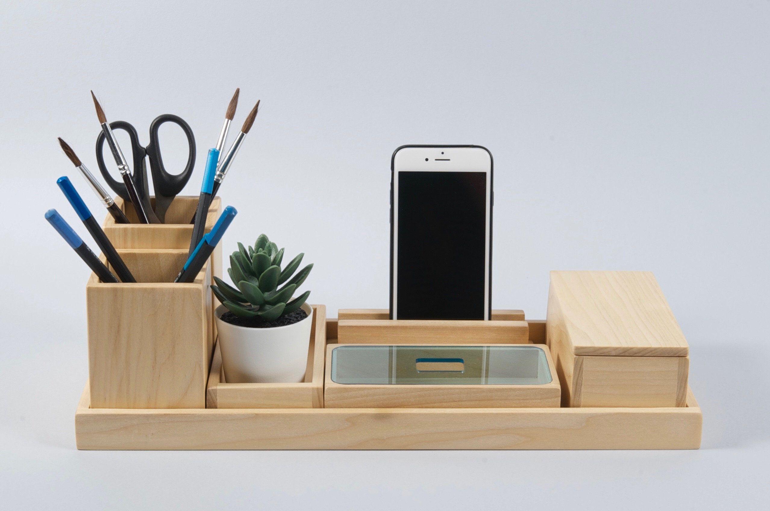Wood Desk Organizer Gift For Men And Women Office Desk